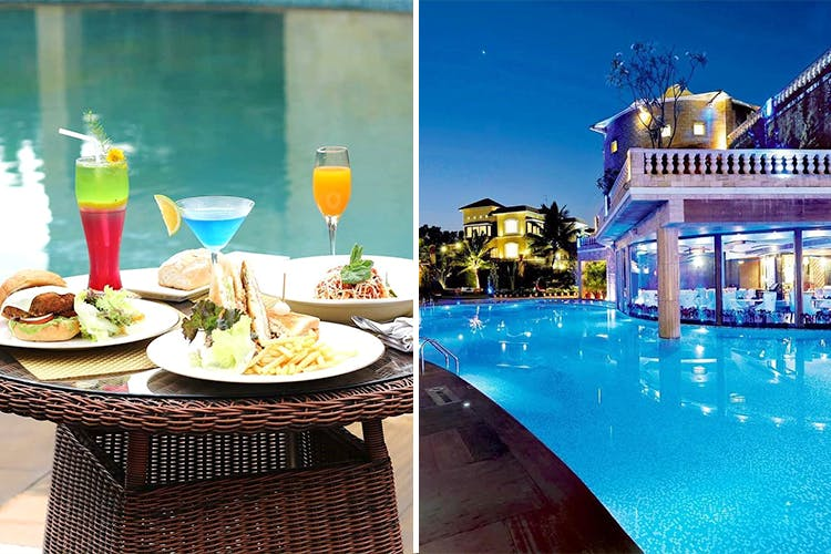 Swimming pool,Vacation,Leisure,Resort,Azure,Table,Building,Brunch,Summer,Furniture