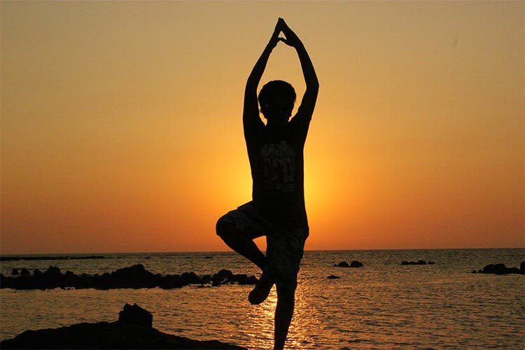 People in nature,Physical fitness,Yoga,Balance,Silhouette,Sunset,Stretching,Standing,Happy,Joint