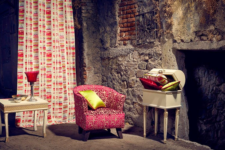 Red,Room,Furniture,Chair,Interior design,Wall,Wallpaper,Table,Textile,Curtain