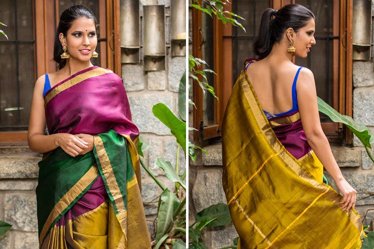 Clothing,Sari,Yellow,Purple,Green,Silk,Fashion,Formal wear,Textile,Dress