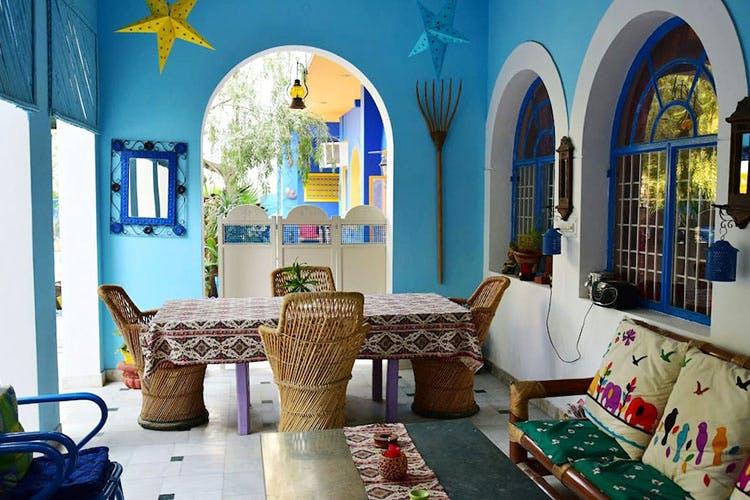 Blue,Room,Interior design,Property,Living room,Furniture,Building,Turquoise,House,Majorelle blue
