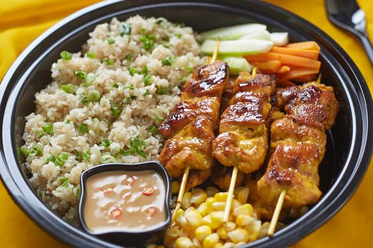 Dish,Food,Cuisine,Yakitori,Skewer,Ingredient,Steamed rice,Meat,Produce,White rice