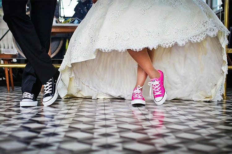 Photograph,White,Bride,Dress,Pink,Leg,Ceremony,Wedding,Snapshot,Marriage