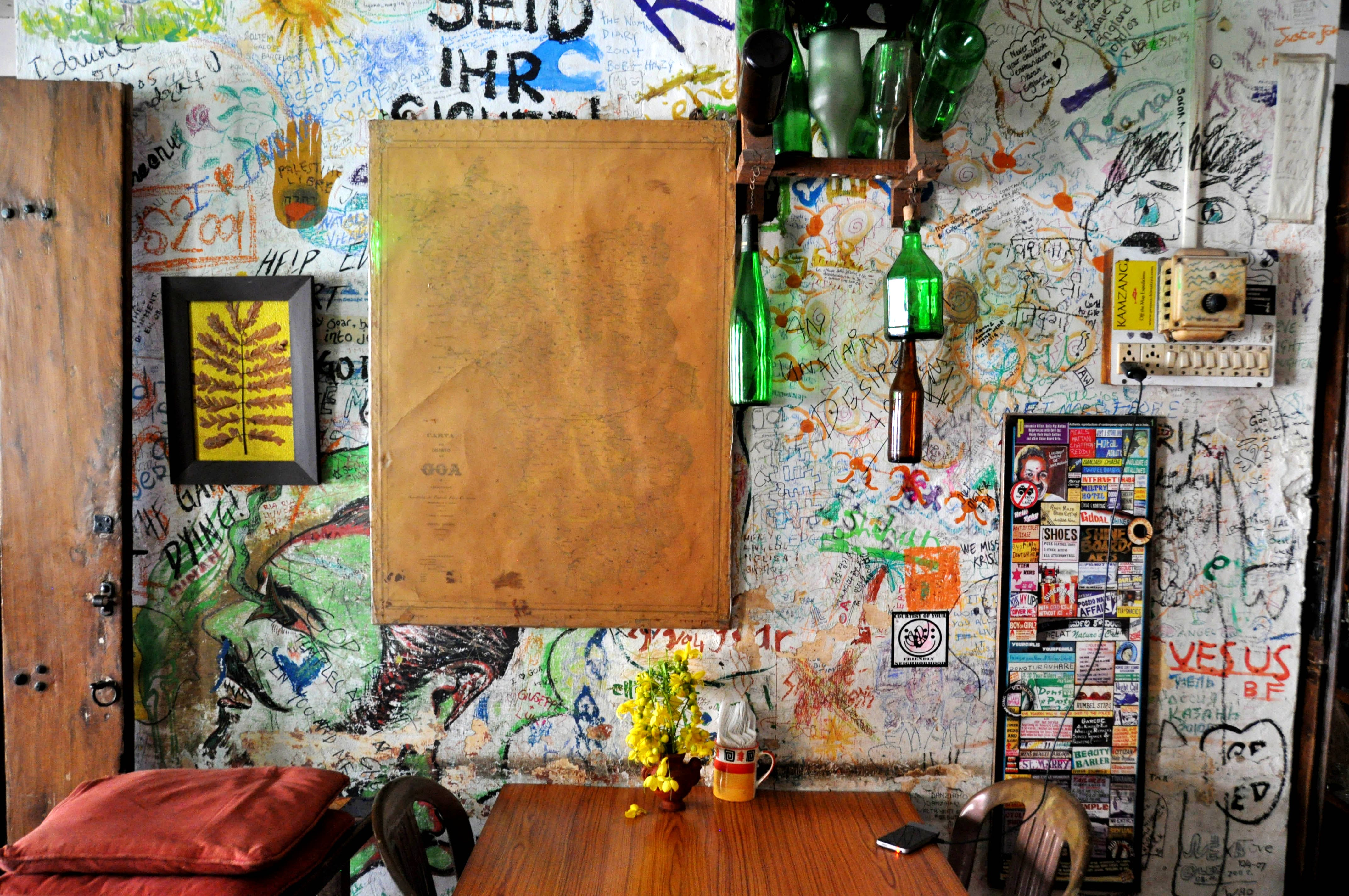 Wall,Room,Tree,Door,Art,Wood,Window,Still life,Painting,Paint